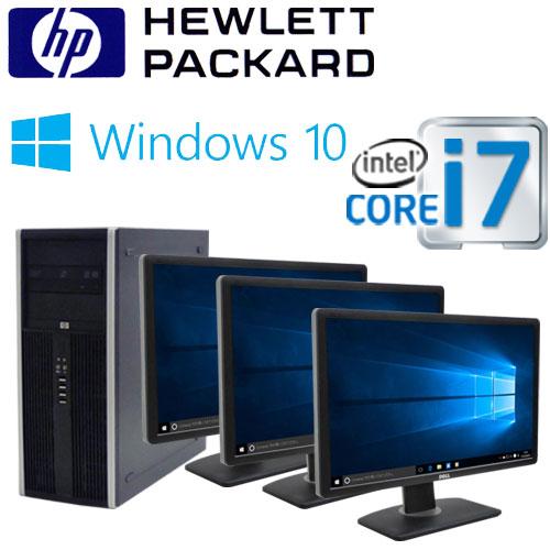 中古パソコン デスクトップ HP 8300MT Core i7 3770 3.4G メモリ4GB HDD500GB DVDマルチ Windows10 Pro 64bit マルチモニタ 3画面 22型ワイド液晶 ディスプレイ 0933mR USB3.0対応 中古
