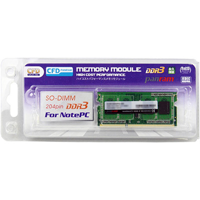 新品未使用正規品 CFD D3N1600PS-L8G 8GBx1 ノート用メモリ 低電圧1.35V SO-DIMM DDR3L-1600 超定番 PC3-12800