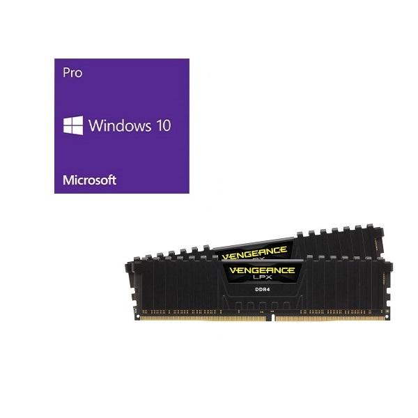 セット商品 Windows 10 Pro 64Bit DSP + Corsair CMK16GX4M2A2666C16 バンドルセット 企業ユーザー、上級一般ユーザー向けの Pro 64bit DSP版