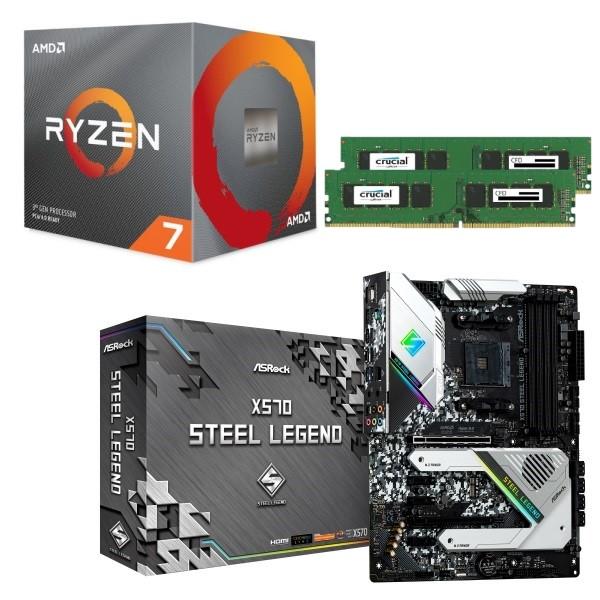 [パーツセット] AMD Ryzen 7 3700X + ASRock X570 Steel Legend + CFD W4U2666CM-8G 3点セット