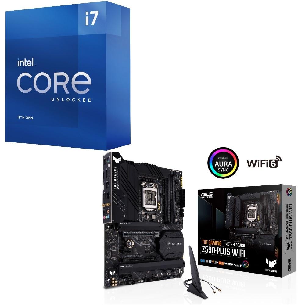 パーツセット Intel Core i7 最安値挑戦 11700K BOX + WIFI 大規模セール セット GAMING TUF ASUS Z590-PLUS