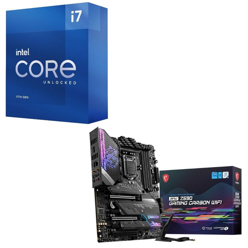 パーツセット Intel Core i7 11700K BOX + 専門店 登場大人気アイテム GAMING CARBON MSI MPG Z590 WIFI セット