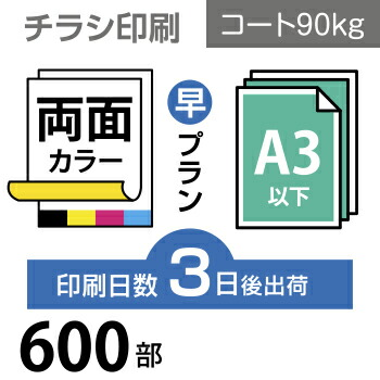 600枚【チラシ印刷】A3サイズ A3(B4/変形可)コート90kg/3日後出荷/両面フルカラー/オリジナル データ入稿/オフセット印刷
