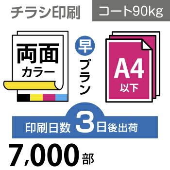 7000枚【チラシ印刷】A4サイズ A4(B5/変形可)コート90kg/3日後出荷/両面フルカラー/オリジナル データ入稿/オフセット印刷