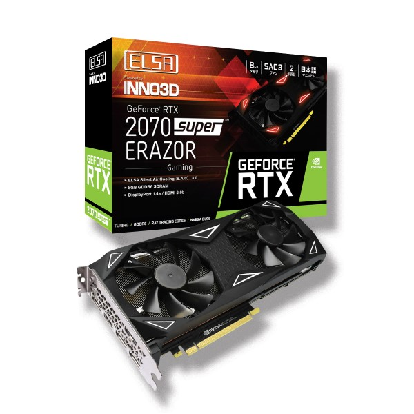 新製品 ELSA GeForce RTX 2070 Super ERAZOR GAMING GD2070-8GERSES [GDDR6 8GB] GeForce RTX 2070 SUPER 搭載グラフィックカード