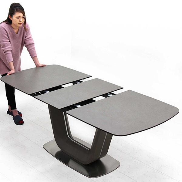 セラミック テーブル 伸長式 ダイニングテーブル 幅140~180cm 伸縮可能 伸張式 グレー 伸長テーブル 強化ガラス エクステンション テーブルのみ 単体 奥行き80cm オートタイプ 天板拡張 おしゃれ シック スタイリッシュ シャープ モダン U字型 個性的 送料無料