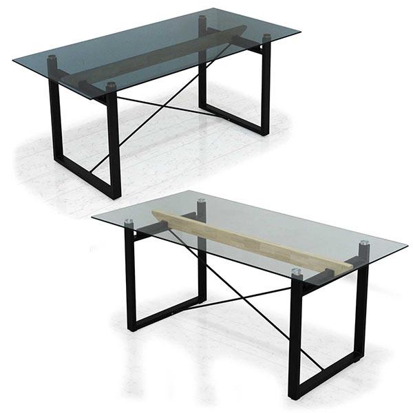 ガラステーブル ダイニングテーブル 幅180cm スモーク クリア 選べる2色 奥行き70cm 高さ76cm 180×70 テーブル単体 ガラス モダン 長方形 送料無料