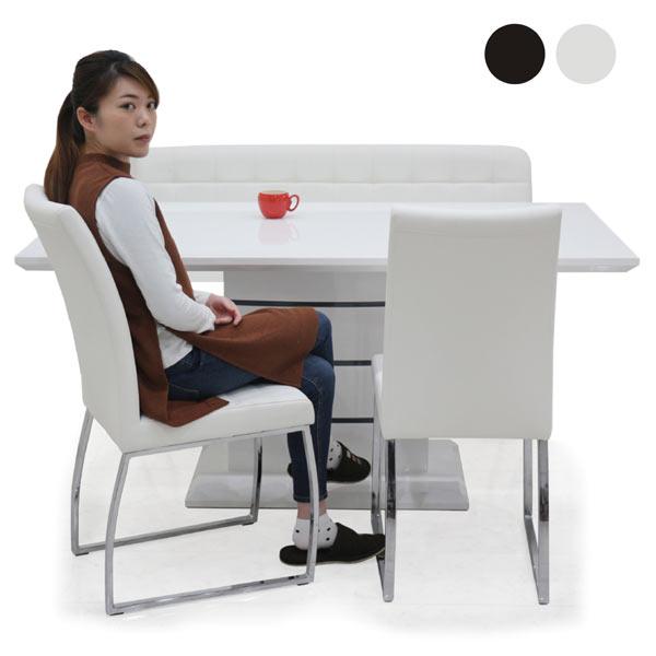 鏡面 ダイニングセット ダイニングテーブルセット 4点 4人用 ホワイト ブラック 選べる2色 テーブル 幅160cm 160×85 ベンチ 白 黒 モノトーン 合皮 インテリア デザイナーズ風 オシャレ モダン 長方形 オリジナル商品 送料無料