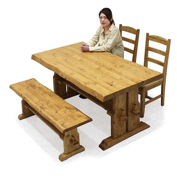 ダイニングテーブルセット 幅150 木製 ダイニングベンチ ダイニング4点セット 無垢材 チェア2脚セット 高級感 おしゃれ ダイニング テーブル 和モダンテイスト 一枚板風 送料無料