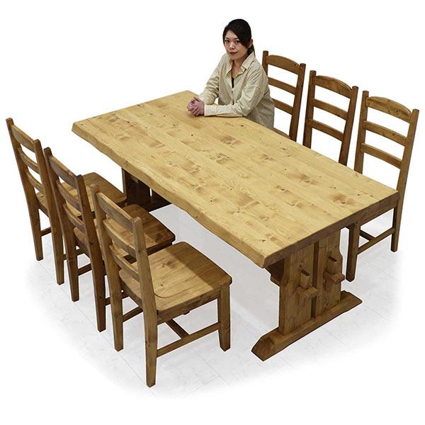 ダイニングテーブルセット 幅180 木製 ダイニング7点セット 無垢材 チェア6脚セット 高級感 おしゃれ ダイニング テーブル 和モダンテイスト 一枚板風 送料無料