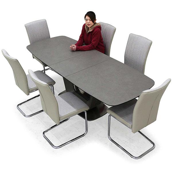 伸長式 ダイニングテーブルセット セラミック ダイニングテーブル 7点セット 高級感 ハイバック仕様 カンティレバー 6脚セット グレー色 ファブリック生地 布地 U字型 送料無料