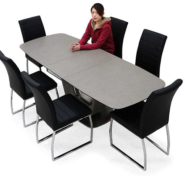 伸長式 ダイニングテーブルセット セラミック ダイニングテーブル 7点セット 高級感 合成皮革 高級感 6脚セット グレー色 U字型 北欧風 モダンテイスト 送料無料