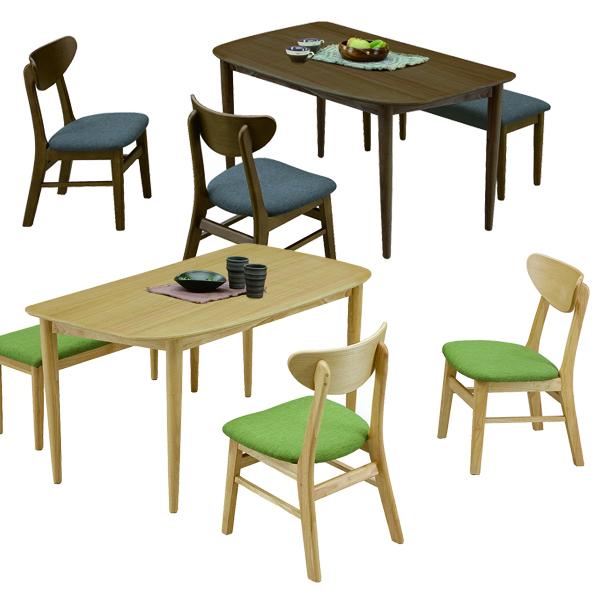 ダイニングセット 4点 幅130cm ダイニングテーブルセット 4人掛け 4人用 ベンチタイプ ブラウン ナチュラル 選べる2色 130×80 オーク材 長方形 座面 布地 ファブリック 北欧 モダン シンプル オシャレ 木製 送料無料