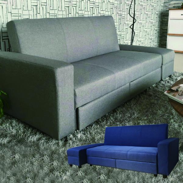 引出し付き ソファ スツール 2点セット ベッド ソファ ベッド 2人掛けソファ 収納 ソファーベッド ブルー グレー 選べる2色 スツール付き シングル ファブリック 布地 2P シンプル モダン 送料無料