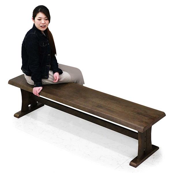 和風 ダイニングベンチ ベンチ 無垢材 幅170cm 3人掛け 3人用 木製ベンチ ヴィンテージ 単体 ベンチのみ ベンチ ブラウン ラバーウッド 木製 長方形 ダイニング 和テイスト 和モダン おしゃれ 送料無料