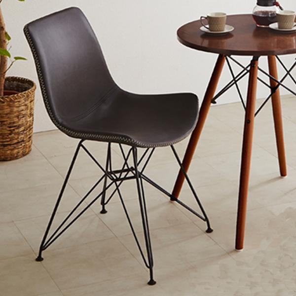 ダイニングチェア イス チェア 椅子 1人掛け 幅50 グレー ブラウン 選べる2色 パーソナルチェア 背もたれ付き 座面 合皮 PU おしゃれ インテリア モダン カジュアル 送料無料