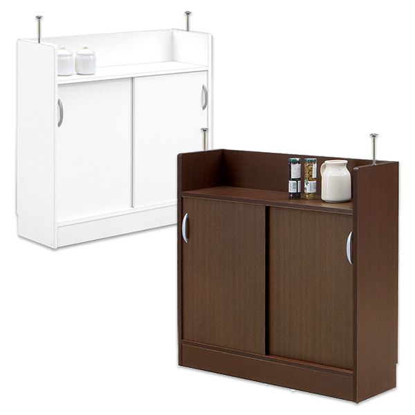 カウンター下収納 引き戸 多目的キッチン収納でスッキリ ワイド90cm 薄型収納庫 省スペース 低ホルムアルデヒド 木製 日本製 完成品 送料無料