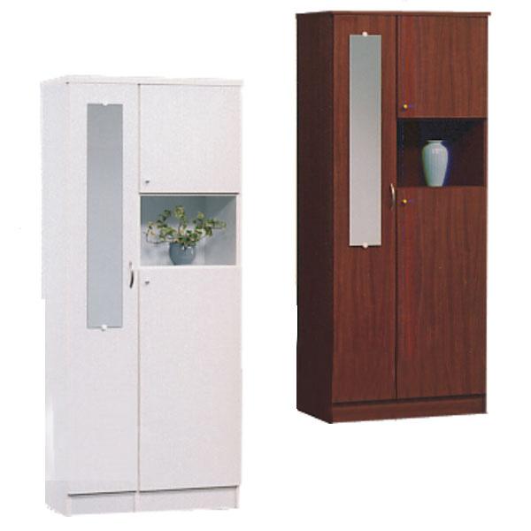 下駄箱 シューズボックス 靴箱 玄関収納 幅75cm ミラー付き ブラウン ホワイト 選べる2色 木製 ハイタイプ 完成品 送料無料