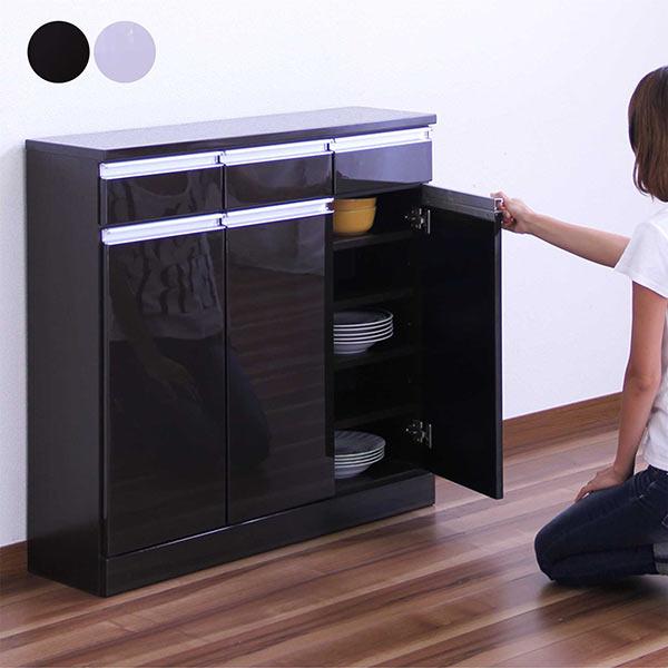 キッチンキャビネット 食器棚 キッチン収納 開き戸 幅60cm 鏡面仕上げ 木製 完成品 送料無料 光沢 ツヤあり 艶あり