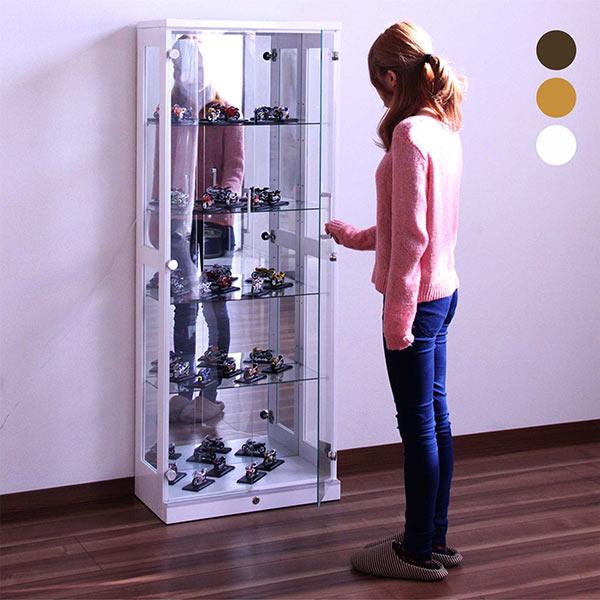 鍵付き コレクションボード ディスプレイラック 幅60cm 5段 コレクションケース ナチュラル ブラウン ホワイト 選べる3色 高さ160 ショーケース フィギュアラック LEDダウンライト付き ガラス 壁面収納 ガンプラ 人気 木製 完成品 送料無料