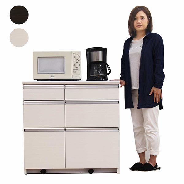 キッチンカウンター カウンター レンジボード 幅90cm キッチン収納 キッチン家電収納 北欧 シンプル モダン 鏡面仕上げ メラミン加工 木製 完成品 送料無料 光沢 ツヤあり 艶あり