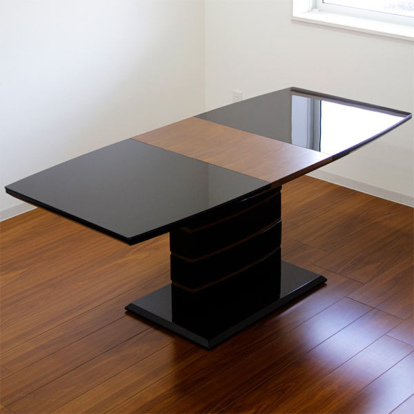 伸長式 鏡面 テーブル ダイニングテーブル ガラステーブル 幅140~180cm 伸縮可能 拡張式 奥行き80cm 高さ72cm ガラス ブラック 黒 エクステンション 鏡面仕上げ 光沢あり ツヤあり 艶有り テーブルのみ 単体 北欧 モダン 食卓テーブル 木製 長方形 送料無料