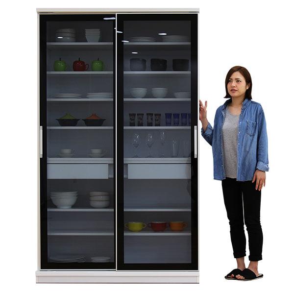 国産 食器棚 キッチンボード 幅120cm 高さ200cm ハイタイプ スライド 引き戸タイプ ホワイト 白 ガラス スモークガラス使用 引出し スライドレール付き おしゃれ 北欧 シンプル モダン キッチン収納 木製 完成品 送料無料