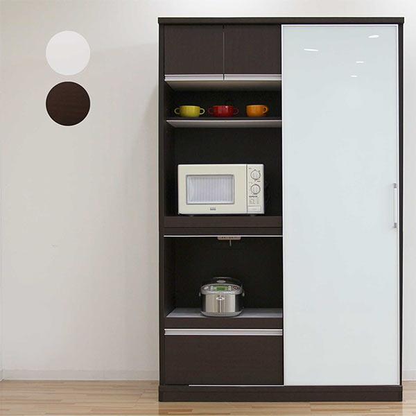 食器棚 キッチンボード レンジ台 レンジボード キッチン収納 幅130cm スライド式 引き戸 モイス付き 北欧 シンプル モダン 木製 完成品 送料無料