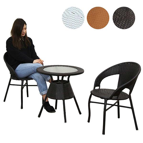 ガーデンテーブルセット ガーデンセット 3点セット 丸テーブル アジアン ガラステーブル 円卓テーブル リビングセット ダイニングセット 2人掛け 屋外でも使用可能です 送料無料
