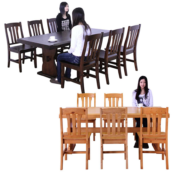 無垢材 ダイニングセット ダイニングテーブルセット 7点セット 6人掛け テーブル幅180cm ベンチ付き ナチュラル ブラウン 選べる2色 北欧 シンプル 木製 食卓テーブルセット 天然木 パイン 送料無料