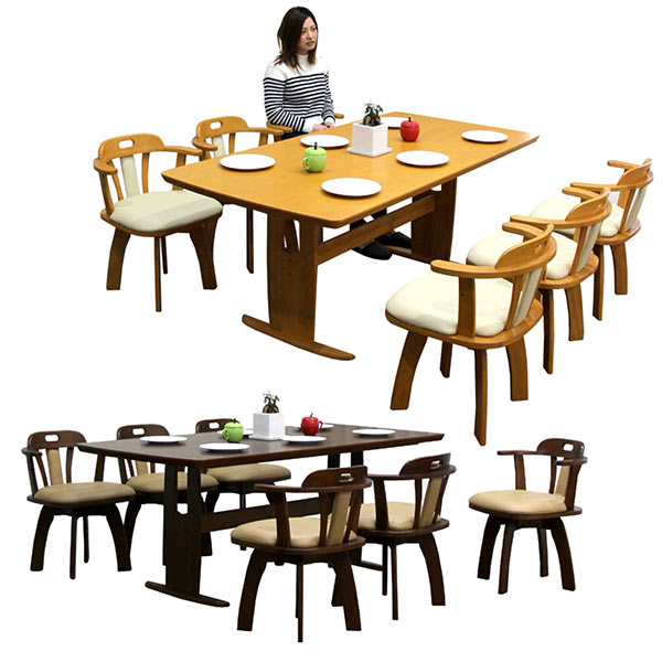 数量限定 ダイニングセット ダイニングテーブルセット 7点セット 6人掛け 回転チェア 木製 北欧 シンプル モダン 食卓セット 選べる2色 無垢 送料無料