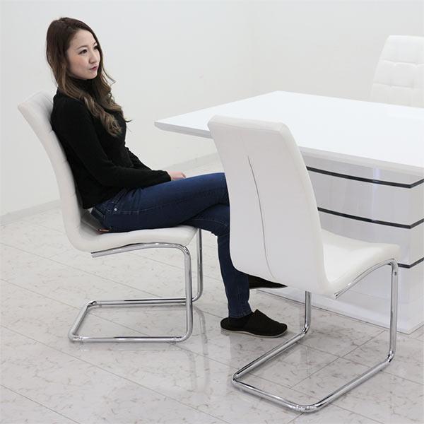 鏡面 ダイニングセット 4人掛け 5点 ホワイト インテリア ダイニングテーブルセット 幅160cm カンチレバーチェア 4人用 光沢 ツヤあり 160×85 座面 合皮 デザイナーズ風 白 オシャレ ラグジュアリー デザイン 長方形 オリジナル商品 送料無料