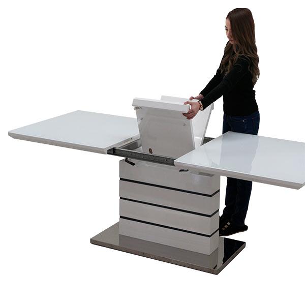 伸長式 鏡面 テーブル ダイニングテーブル ガラステーブル 幅160~200cm 伸縮可能 拡張式 奥行き85cm 高さ75cm ガラス ホワイト 白 エクステンション 鏡面仕上げ 光沢あり ツヤあり 艶有り テーブルのみ 単体 北欧 モダン 食卓テーブル 木製 長方形 送料無料