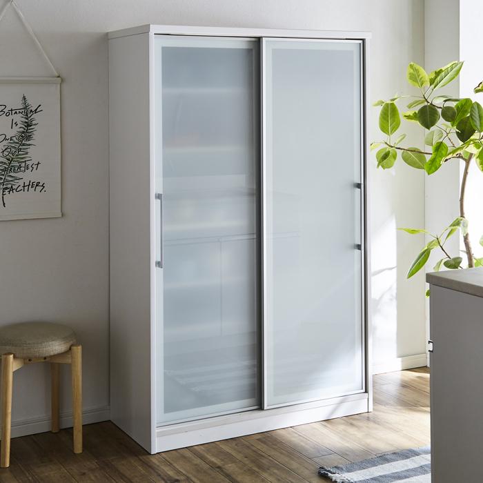 食器棚 キッチンボード ダイニングボード 幅100cm 国産 引戸 ハイタイプ ホワイト 白 高さ調節 可動棚 キッチン収納 北欧 シンプル モダン 木製 完成品 送料無料