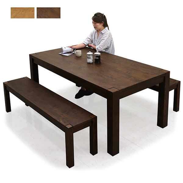 数量限定 無垢材 ダイニングテーブルセット 6人掛け ダイニングセット 3点セット テーブル幅180cm 180幅 ライトブラウン ダークブラウン 選べる2色 ベンチ 無垢 パイン 人気 シンプル おしゃれ モダン アジアン 食卓テーブルセット イザベラ