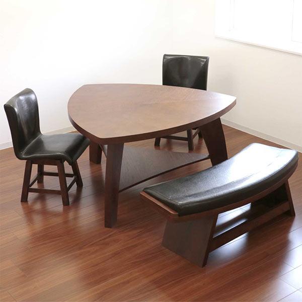 数量限定 ダイニングセット ダイニングテーブルセット 4点セット 4人掛け 幅135 ブラウン 三角テーブル ベンチ 回転チェア 座面 合成皮革 PVC 合皮 木製 デザイナーズ風 モダン 食卓テーブルセット 送料無料