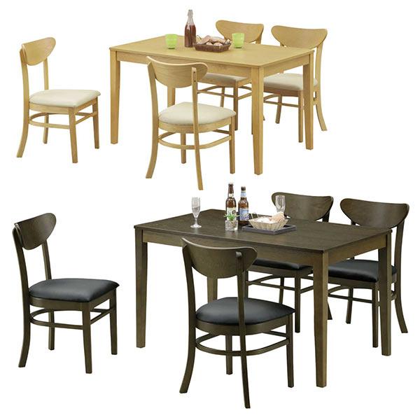 ダイニングテーブルセット 4人掛け シンプル ダイニングセット 5点セット テーブル幅120cm ナチュラル ブラウン 選べる2色 リビング テーブル 座面 合成皮革 合皮 アッシュ材 木製 長方形 120×75 食卓セット 送料無料