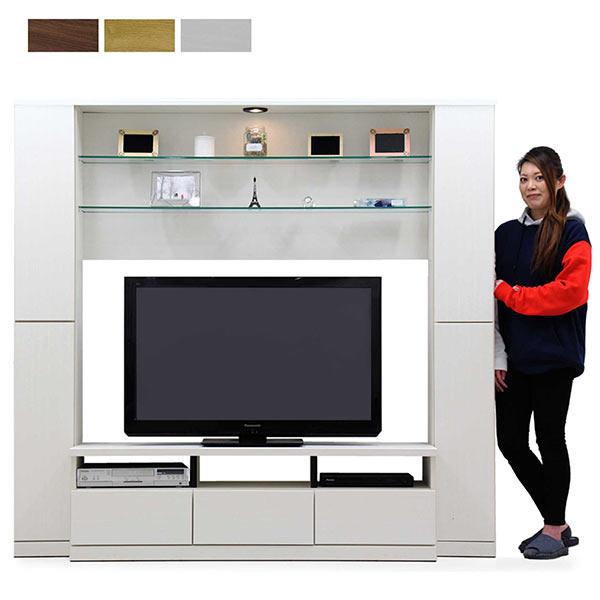 ハイタイプ テレビ台 テレビボード 幅190cm LEDライト付き TV台 TVボード 高さ180cm 収納力 壁面収納 引き出しフルオープンレール付き 大容量 ガラス棚 ホワイト ナチュラル ブラウン 選べる3色 白 可動棚 移動棚 シンプル 北欧 モダン 木製 送料無料