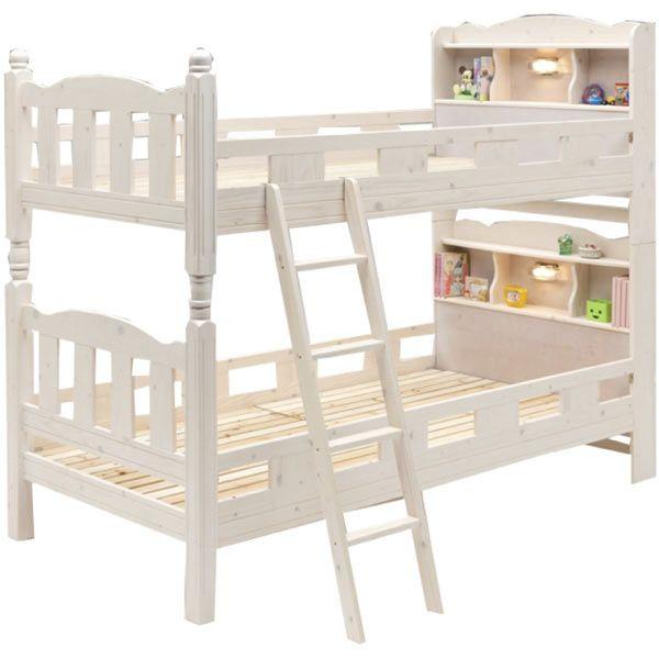 2段ベッド 二段ベッド ベット 宮付き ライト付き すのこベッド 幅105cm 高さ175cm 木製 シンプル モダン *マットレスは別売りです。 通販 送料無料