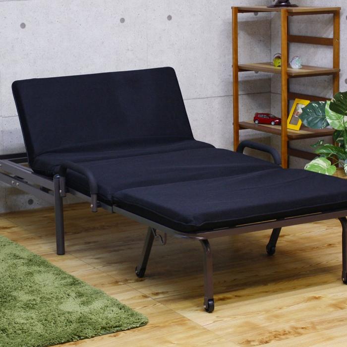 シングルベッド ソファベッド ソファ リクライニング機能付き ブラック 黒 幅100cm ベッド ソファー ファブリック 布地 ポリエステル シンプル モダン コンパクト 省スペース 送料無料
