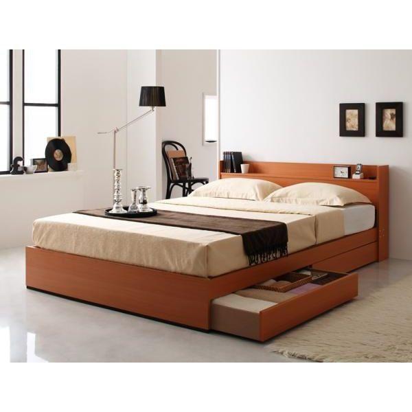 ベッド ベッドフレーム ダブル 収納付きベッド ダブルベッド 木製 北欧 シンプル モダン 選べる2色 ナチュラル ダークブラウン 収納 引出し付 コンセント付 送料無料