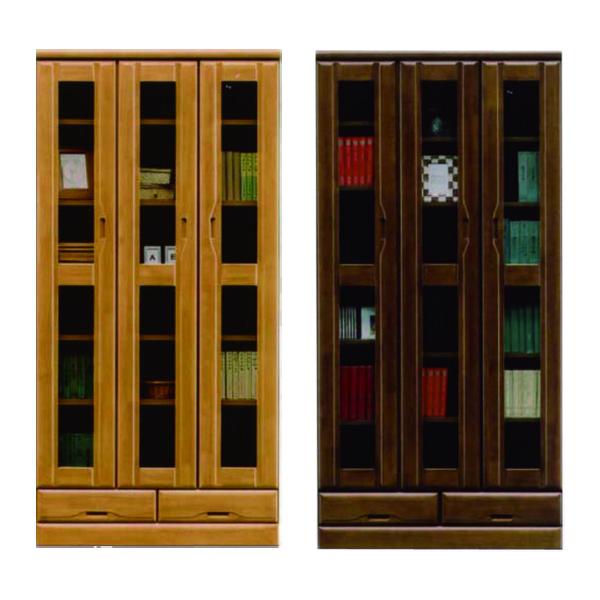 本棚 書棚 幅90cm 無垢材 高さ185cm 国産 日本製 ナチュラル ブラウン 選べる2色 ハイタイプ 木製 ラバーウッド材 引出し付き カットガラス ネジダボ リビング収納 シンプル 壁面収納 送料無料