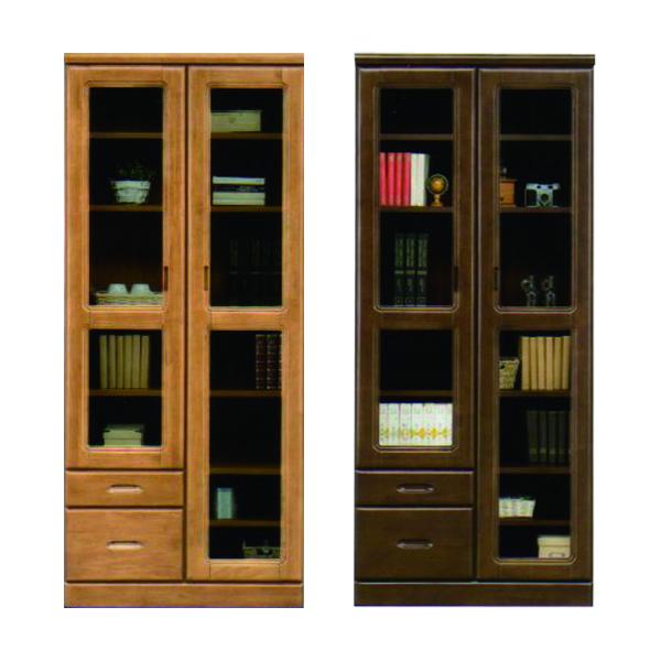 幅80cm 本棚 書棚 無垢材 高さ183cm 国産 日本製 ナチュラル ブラウン 選べる2色 ハイタイプ 木製 ラバーウッド材 引出し付き リビング収納 シンプル 壁面収納 送料無料