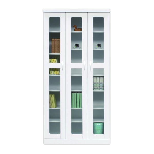 鏡面 幅90cm 本棚 書棚 高さ180cm 国産 ホワイト ハイタイプ 日本製 開き戸 白 光沢 艶あり 木製 リビング収納 ガラス シンプル 壁面収納 送料無料