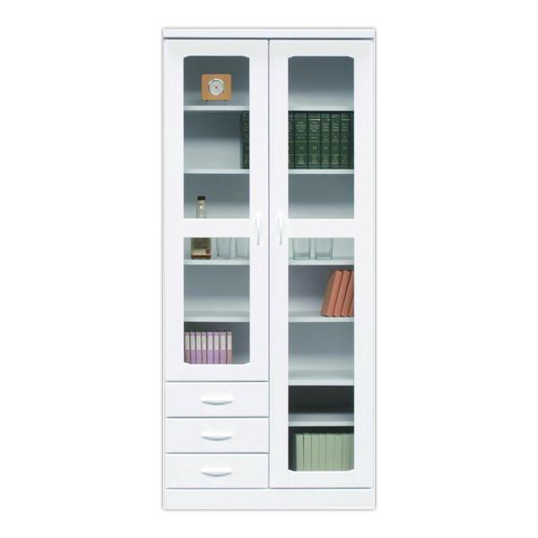 鏡面 幅80cm 本棚 書棚 高さ180cm 国産 ホワイト ハイタイプ 日本製 開き戸 白 光沢 艶あり 木製 リビング収納 ガラス シンプル 壁面収納 送料無料
