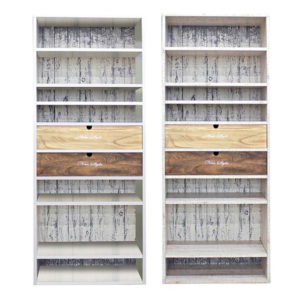 アンティーク風 本棚 書棚 完成品 幅75cm 高さ180cm 棚 オープンラック フリーラック 引出し付き 国産 木製 無垢 桐材 アンティークホワイト ホワイト 選べる2色 白 壁面収納 おしゃれ 大川家具 送料無料