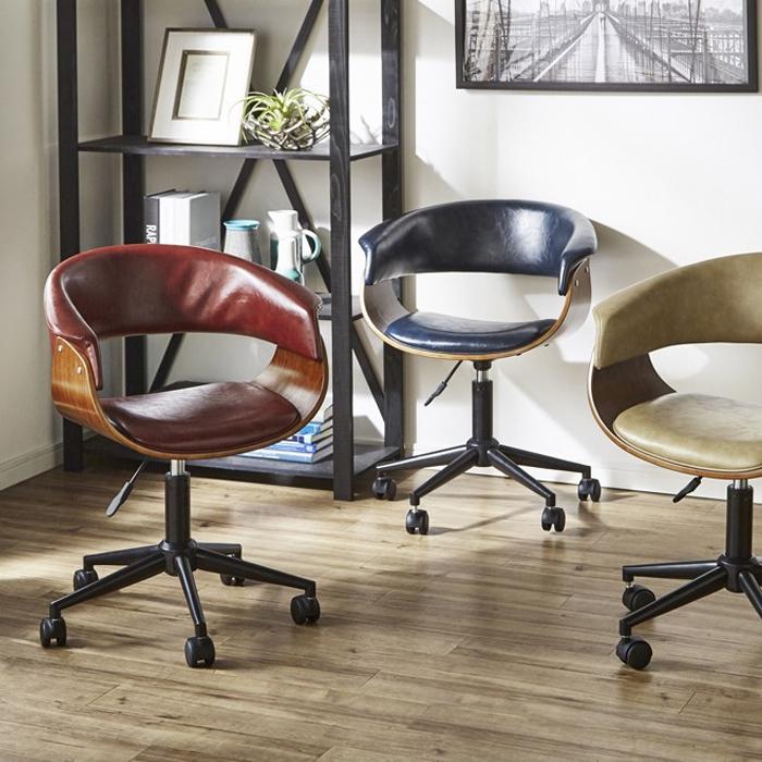 オフィスチェア パソコンチェア キャスター付き 幅60cm デスク用 ワイン ネイビー ベージュ 選べる3色 高さ調節 高さ調整 チェア ワークチェア イス 椅子 いす レトロ モダン オシャレ 送料無料