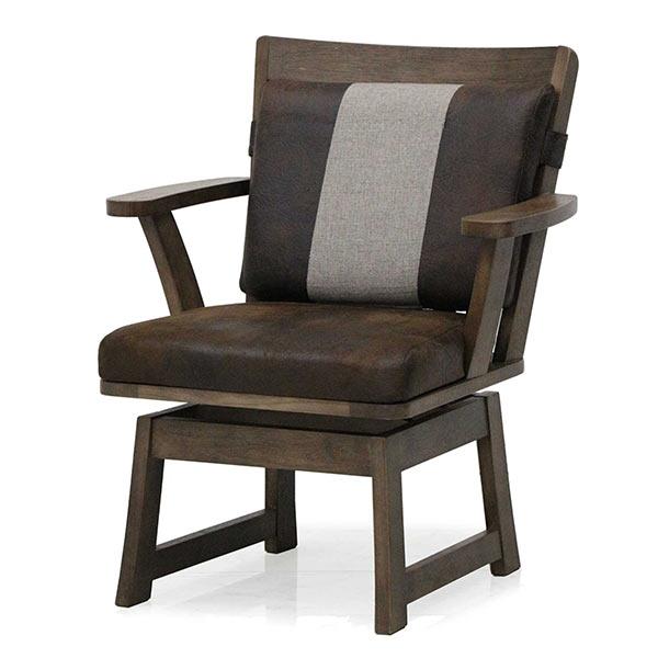 和風 ダイニングチェア 椅子 チェア 無垢材 1人掛け 肘付き 回転チェア ビンテージ 1人用 1P ブラウン アームチェア ラバーウッド 木製 リビング ダイニング 和テイスト ヴィンテージ 和モダン おしゃれ 送料無料