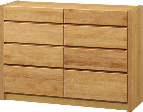 タンス チェスト ローチェスト 幅125 4段 ナチュラル 収納家具 木製 北欧 完成品 送料無料