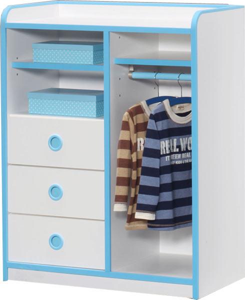 ワードローブ 幅80 高さ100 子供服 キッズ ホワイト ブルー ピンク 子供用 家具 木製 北欧 完成品 通販 送料無料